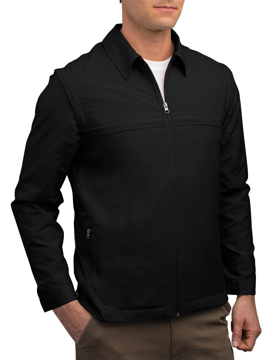 SCOTTeVEST Jacket - Travel Clothing for Men, Convertible Tactical Jacket & Vest (BLK M)