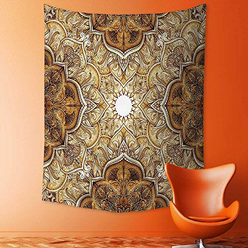 aolankaili Tapestry Wall Hanging Tapestry Vintage Style Leaf Pattern Classic Islamic Architecture Decorating Elements Folk Art Home Room Wall Decor by aolankaili