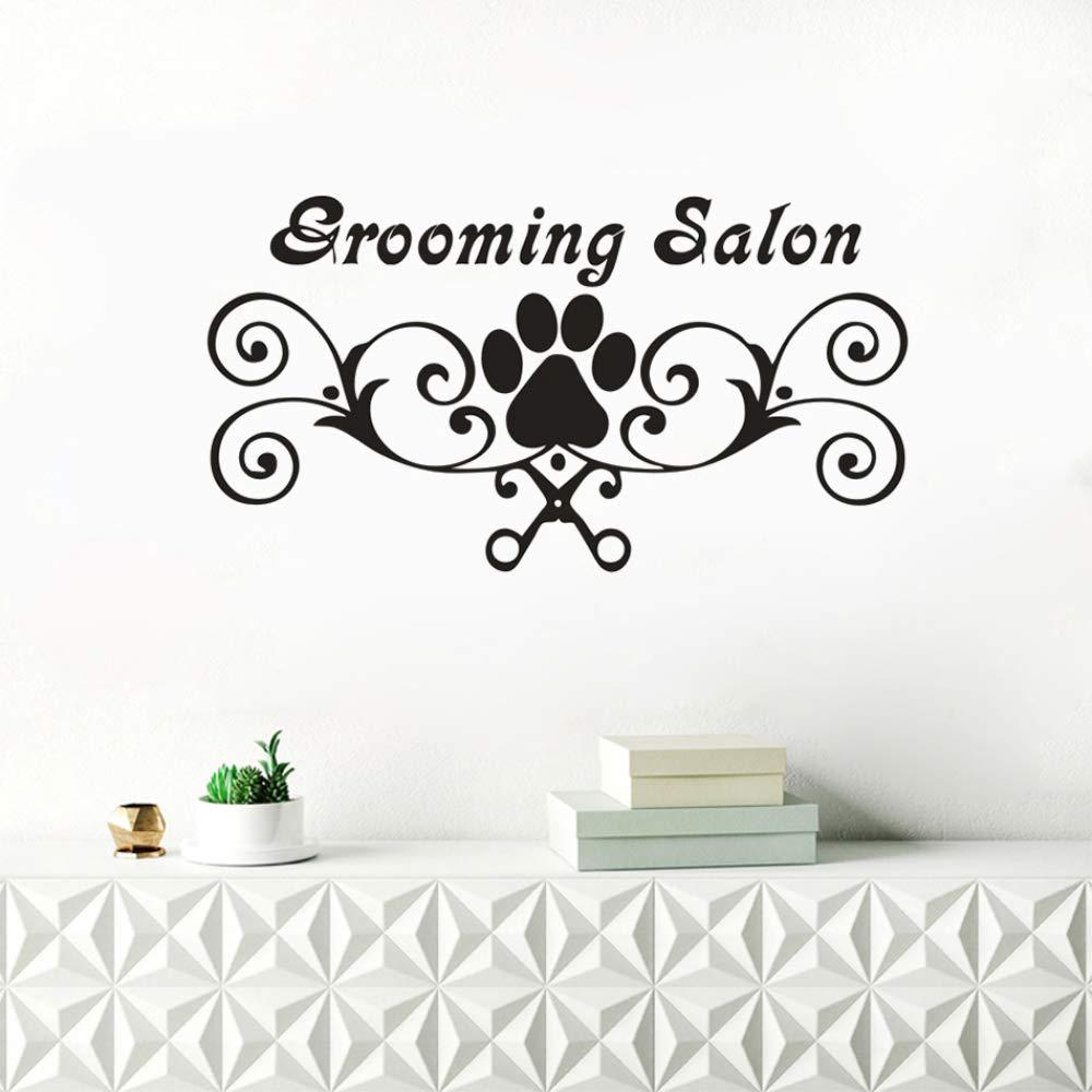 zqyjhkou Grooming Salon Sign Tatuajes de Pared Pata de Perro ...