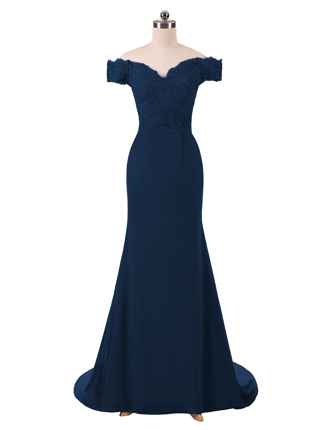 aa1558ecbbe BRLMALL Women s Long Mermaid Lace Evening Dress Party Gown Navy Blue 10