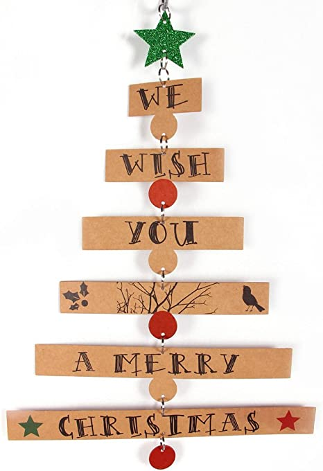 We Wish You A Merry Christmas Wooden Star Tree Christmas Decoration