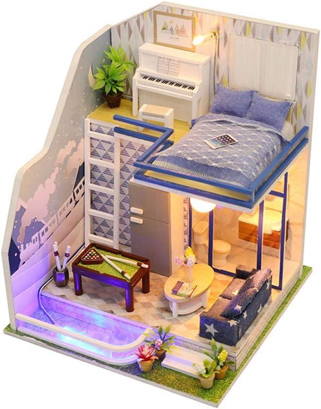 Amazon.es: Evav Casa de muñecas Casa de Bricolaje en Miniatura Kit -Mini Juguetes de construcción Modelo de Madera-Regalo de cumpleaños Amigos, Amantes y familias (Sapphire Love): Juguetes y juegos