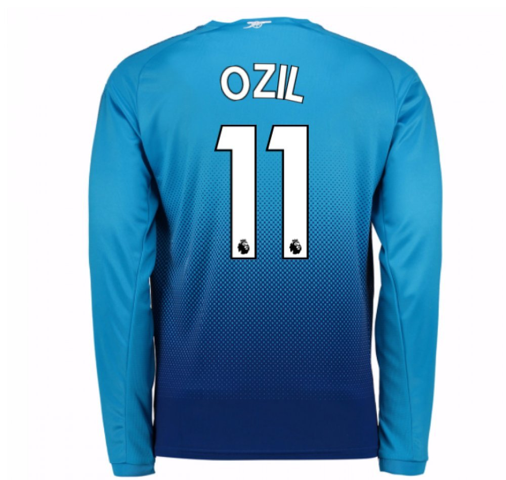 2017-2018 Arsenal Away Long Sleeve Football Soccer T-Shirt Trikot (Mesut Ozil 11) - Kids