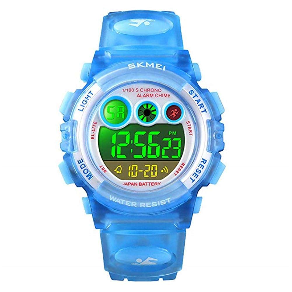 V.JUST Kids Digital Sport Watch for Boys Girls, Kid Waterproof Electronic Multi Function Casual Outdoor Watches, 7 Colorful LED Luminous Alarm Stopwatch Wristwatch,B