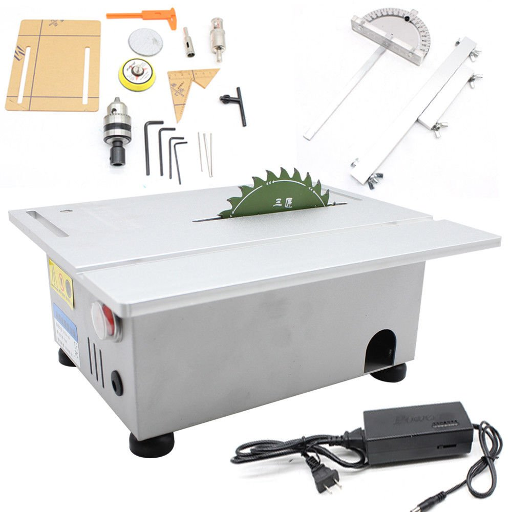 Woodworking Table Saw Bench, T5 Mini Precision Table Benchtop Blade Lathe DIY Polisher, 24V Electric Woodworking Carving Machine Craft Cutting Tool, 7000/Min Speed by MONIPA