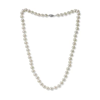 dc1eafe2ae7 18k White Gold 6.5-7mm Hand-Picked Round White Japanese Akoya Cultured AAA  Pearl