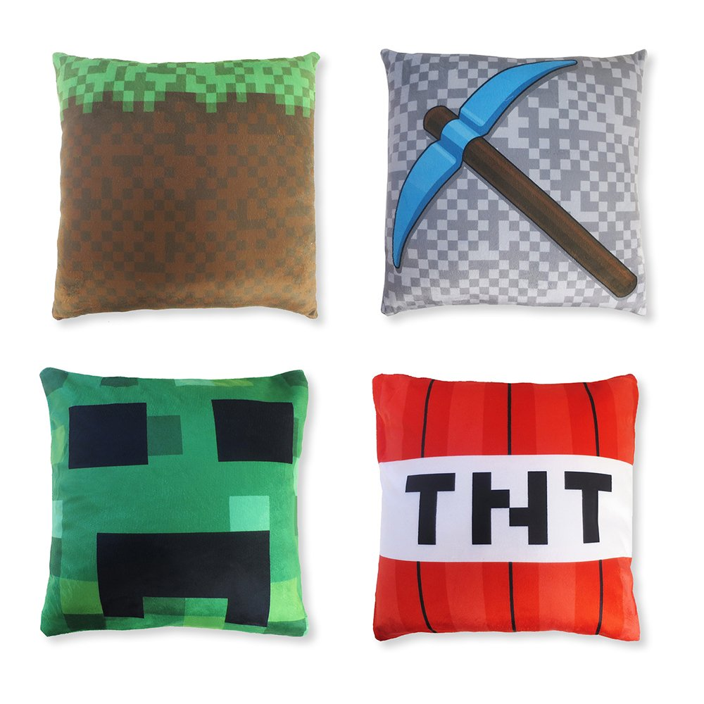 Blue Orchards Kids' Mini 6'' Throw Pillow Cover Set (4 Designs), Mining Pocket Pillow Cover Design, Minecraft and Video Game Inspired, Room Decoration, Fun Christmas or Birthday Gift