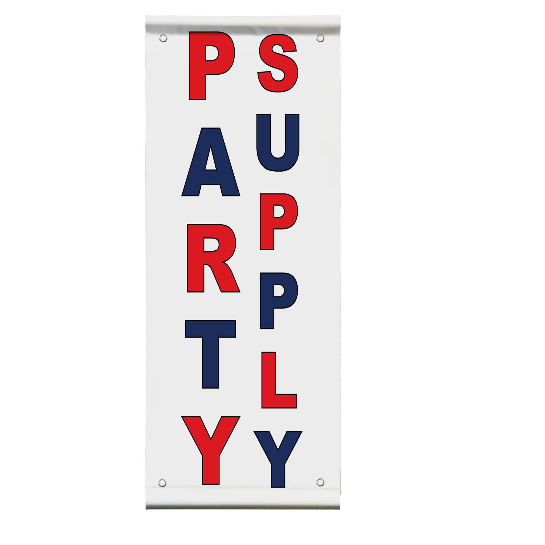 Party Supply Red Blue Double Sided Vertical Pole Banner Sign 24 in x 36 in w/ Wall Bracket
