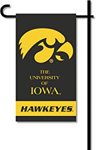 BSI PRODUCTS, INC. - Iowa Hawkeyes 2-Sided Mini Garden Flag - Includes Metal Garden Pole - UI Football Pride - High Durability - Designed for Both Indoor or Outdoor Use - Great Fan Gift Idea