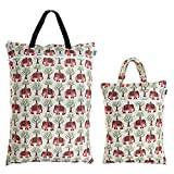 Teamoy (2 Pack) Travel Hanging Wet Dry Bag for Cloth Diapers Organizer Tote Bag, Elephants