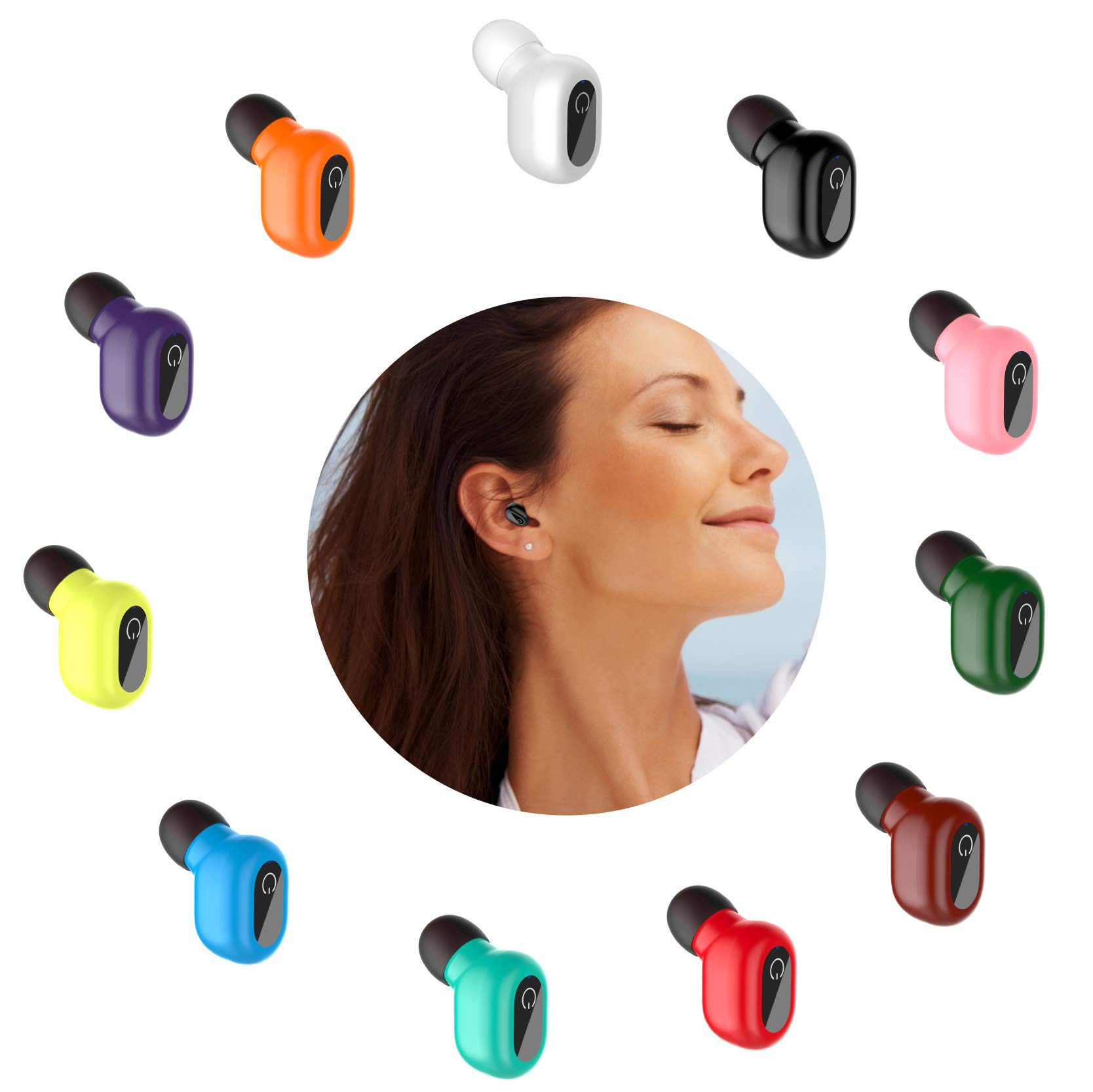Single Waterproof Bluetooth Earbud - Smallest Wireless Earbud Earpiece Headset Headphone Earphone Car Headset with HD Microphone for iPhone Android and More(One Pcs)-Black by Red2Fire (Image #7)