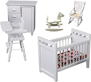 White Wooden Nursery Bedroom (5pcs) 1:12 Scale Dollhouse Furniture ,Non-Toxic Paint