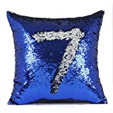"""EORTA Sequin Pillow Cases Glitter Mermaid Pillow Covers 16""""x16"""" Reversible Square Throw Cushion Cases for Bed Sofa Home Decoration Play, Royal Blue+White"""