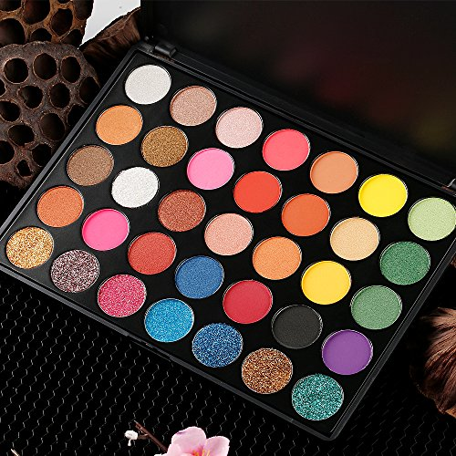 Eyeshadow Makeup Palette, Valuemakers 35 Colors Waterproof & Ultra Pigmented Make-up Eye Shadows- Pressed Glitter and Shimmery EyeShadow Powder Cosmetic Makeup Set by FiveBull (Image #6)