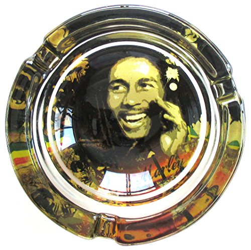 Bob Marley Jammin Marijuana Weed Round Glass Ashtray