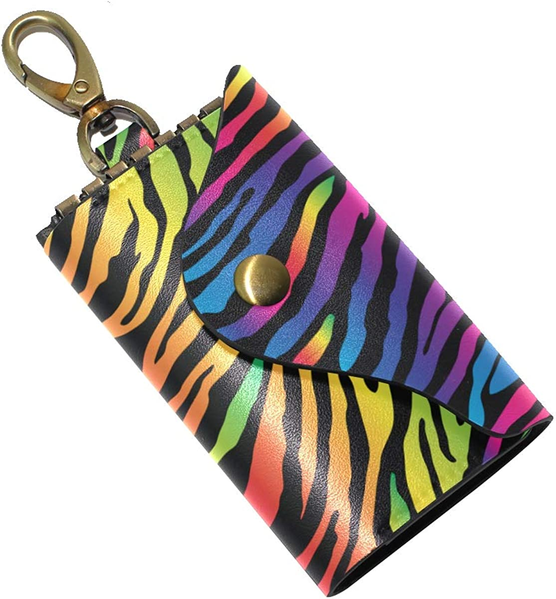 KEAKIA Rainbow Zebra Print Leather Key Case Wallets Tri-fold Key Holder Keychains with 6 Hooks 2 Slot Snap Closure for Men Women