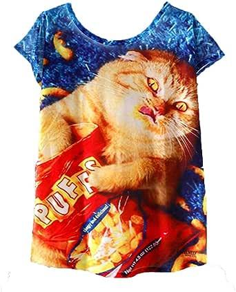 FELZ Camiseta para Mujer Moda Camiseta De Las Mujeres Cuello Redondo Impreso Jersey Manga Corta Casual Pullover Tops Tees Color SóLido