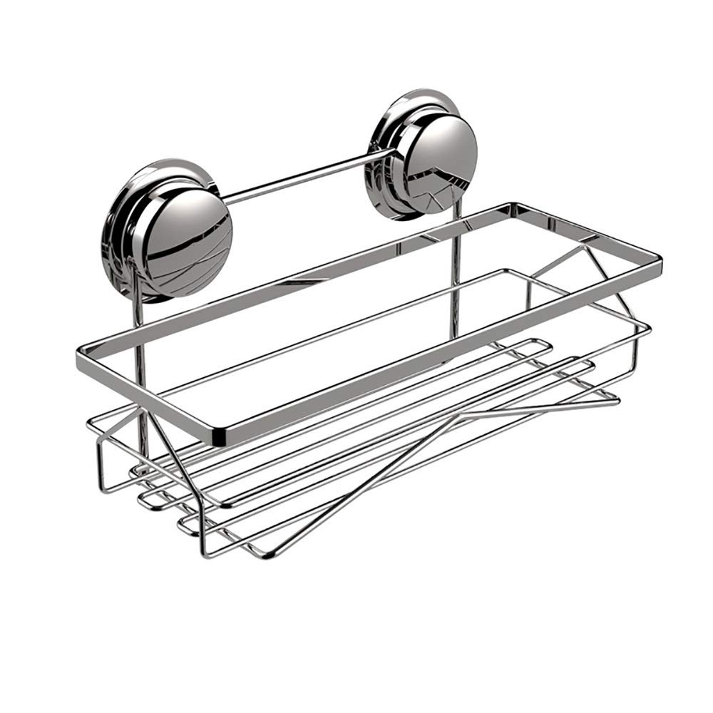 Sink Caddy with Strong Suction Cups-Small Sponge Holder Made of Coated Metal-Compact Soap Holder for Bathroom Sink or Kitchen Sink, stainless steel