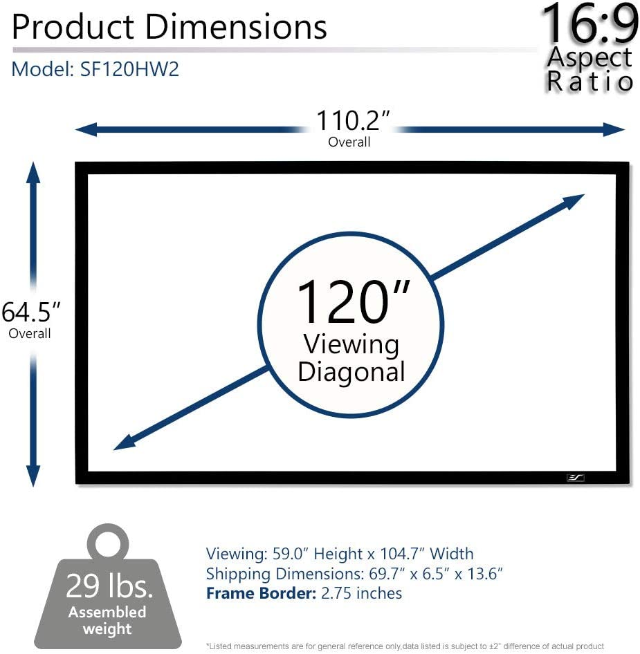 Amazon Com Elite Screens Star Frame Series 120 Inch 16 9 Fixed Frame Home Movie Theater Projector Projection Screen 8k 4k Ultra Hd 3d Ready Sf120hw2 Electronics