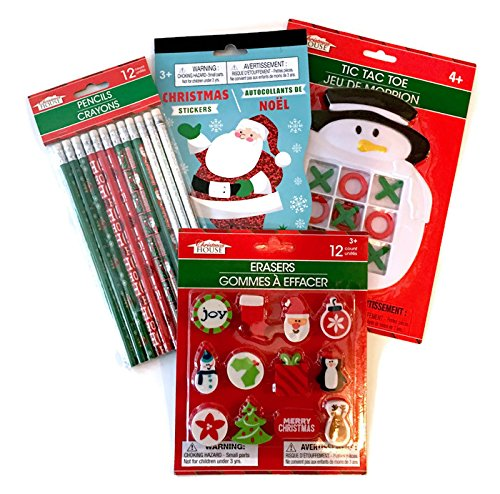 (4 Pack of Christmas Favor Bag Goodies/Stocking Stuffers: Includes Tic Tac Toe, Stickers, Pencils, and Erasers)