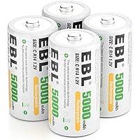 EBL C oplaadbare batterij 5000 mAh hoge capaciteit Ni-MH type C batterijen 4 stuks
