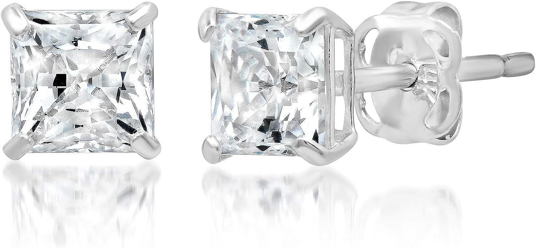 Cristales Swarovski genuinos Chapado en Oro Blanco Pendientes con Pasador Solitario Nuevo En Caja