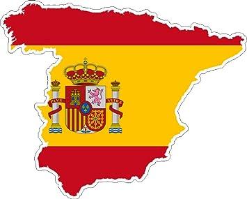 Carte Espagne Hd.Map Of Spain Flag Vinyl Car Sticker Decal Amazon Co Uk Car Motorbike