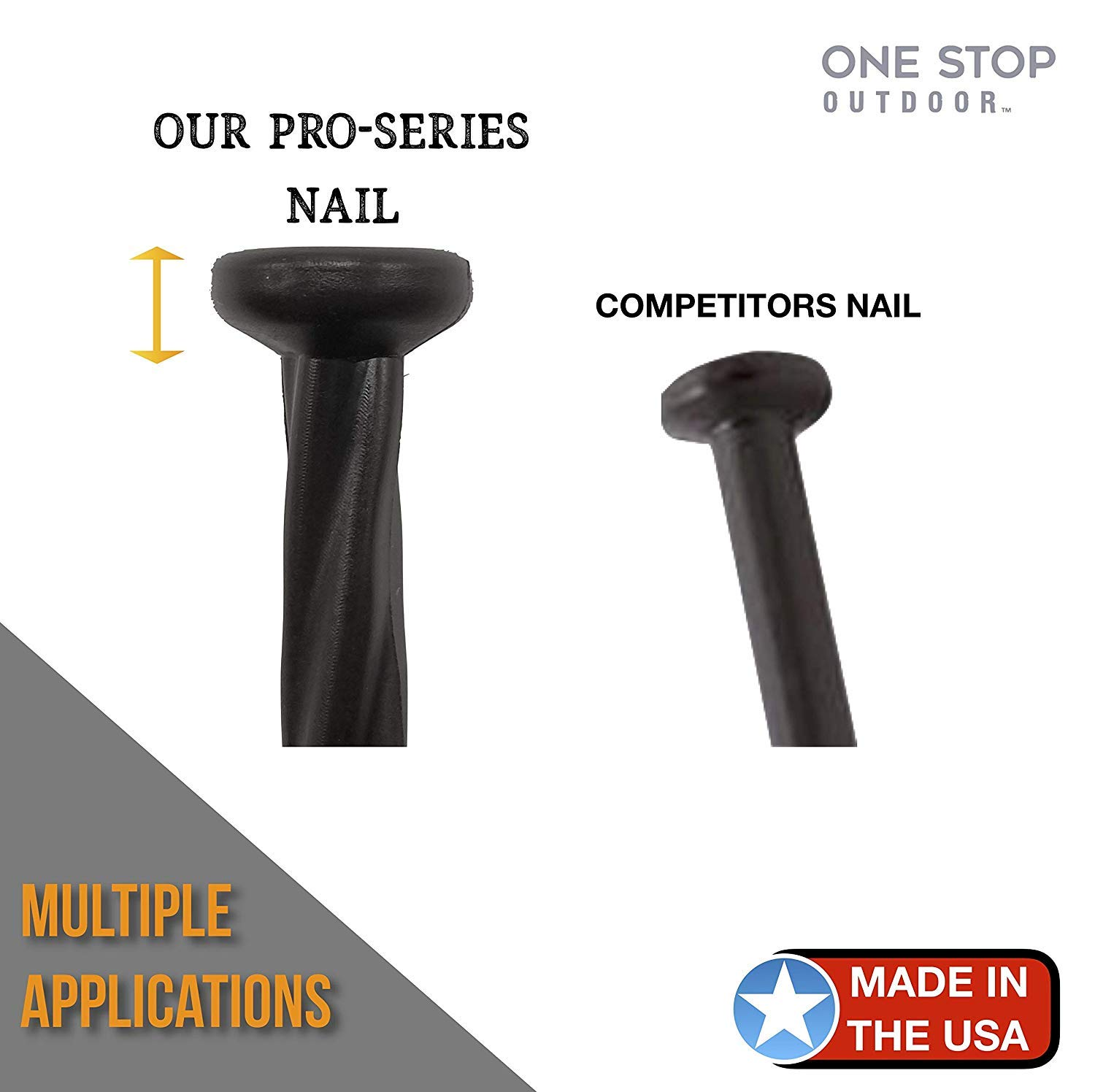 (150 Pack) USA Made - 8'' Inch Plastic Edging Nails, Spiral Nylon Landscape Stake Nail / Anchoring Spikes For Paver Edging, Weed Barrier, Artificial Turf (Fits Most Brands Dimex EasyFlex Proflex) (150) by One Stop Outdoor (Image #2)