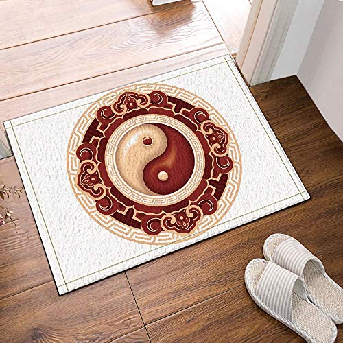Warmer Towel Taiji (Chinese Wind Element Taiji Yin and Yang Bath Rugs Non-Slip Doormat Floor Entryways Outdoor Indoor Front Door Mat Kids Bathroom Accessories)
