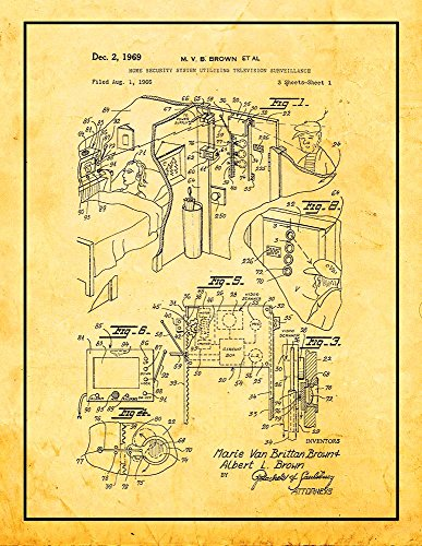 Frame a Patent Home Security System Utilizing Television Surveillance Patent Print Golden Look with Border (8.5
