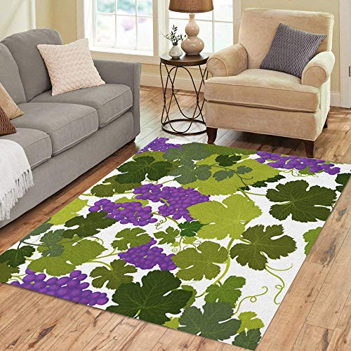 Semtomn Area Rug 5' X 7' Grape Vines in Wine Country Airbrush Painting by Artist Home Decor Collection Floor Rugs Carpet for Living Room Bedroom Dining Room