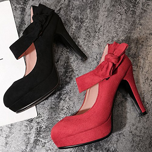 Red Strap Wedding Heels Party Mary Bowknot Platform Ankle Dress High Women's Heel Shoes Pumps Vintage DecoStain Spike Jane qfwRFn