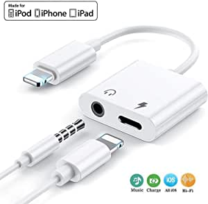 3.5mm Headphone Jack Adapter, Aux Phone 2 in 1 Headphone and Charger Jack Splitter, Compatible with Phone 11/11 Pro/XS/XR/X 8 7, Pad, Pod+ OS 13