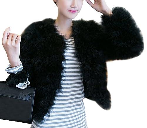 Elegante abrigo Corto de piel sintética de pelo del invierno Parka de las mujeres