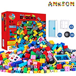 Anksono 1500 Pieces Building Bricks with Doors,Windows,Wheels,Tires,Axles for Kids, Children Classical Building Blocks Compatible with All Major Brands for Boys Girls Toddlers Ages 3 4 5 6 7+ Year Old