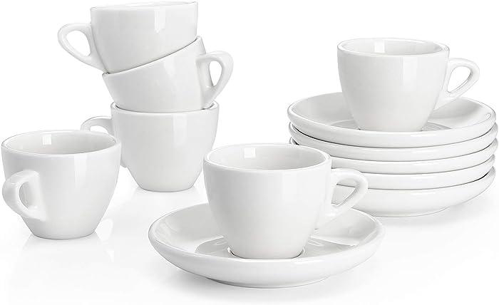 Espressotassen 6er Set aus Porzellan, dickwandig mit Untertasse