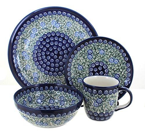 Blue Rose Polish Pottery Seaside Swirl 16 PC Dinnerware Set