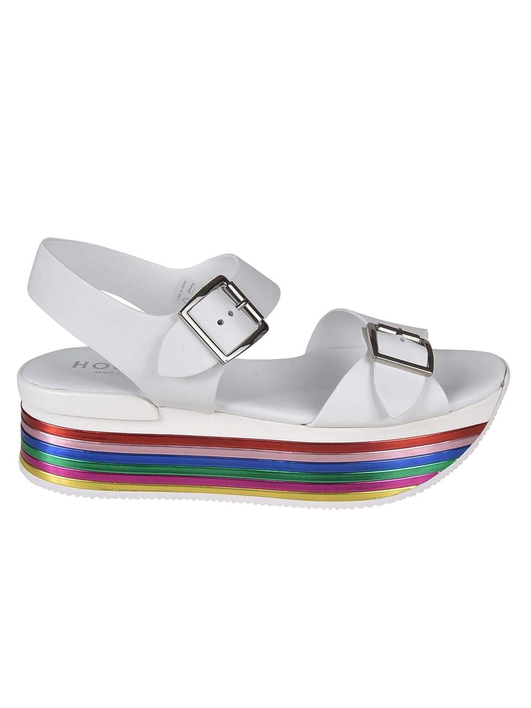 - Hogan Women's GYW3690AA40KLAB001 White Leather Sandals
