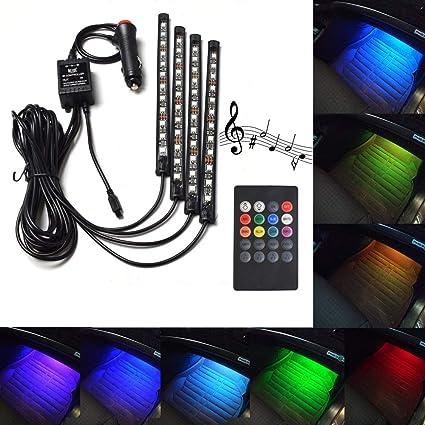 Wireless Decorat Music Control For Car Interior 8 color RGB LED Neon Strip Light