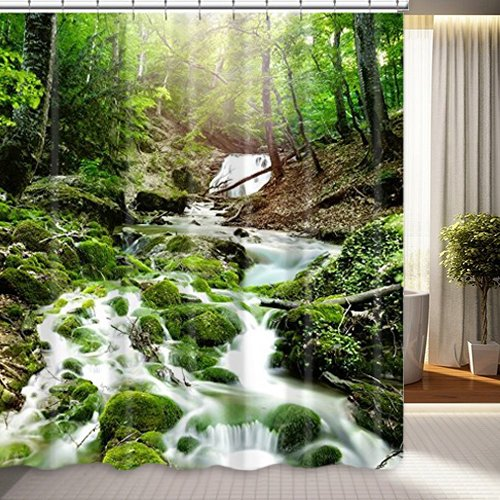 DENGYUE Crystal-clear Stream Shower Curtain, Green Round Moss by Water Small Cobblestone Fresh Air in Forest Beautiful Landscape Bathroom Curtain (Tree Chocolate Coral)