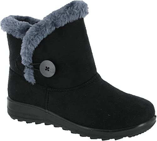 Women Black Ankle Boots Mid Wedge Ladies Grip Sole Pull On Fur Lined Warm Shoes