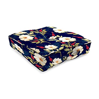 Plow & Hearth Polyester Classic Tufted Floor Cushion with Handle4-20 sq. x 4 Rose Garden : Garden & Outdoor
