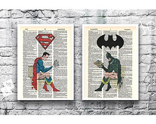 Superman Batman photo Justice League set of (2) superhero wall poster dictionary art prints 8x10 (Superman Picture)