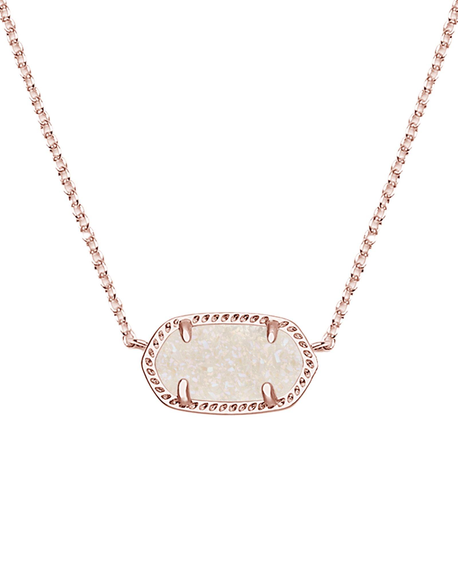 Kendra Scott Women's Elisa Pendant Necklace Rose Gold/Iridescent Drusy Necklace