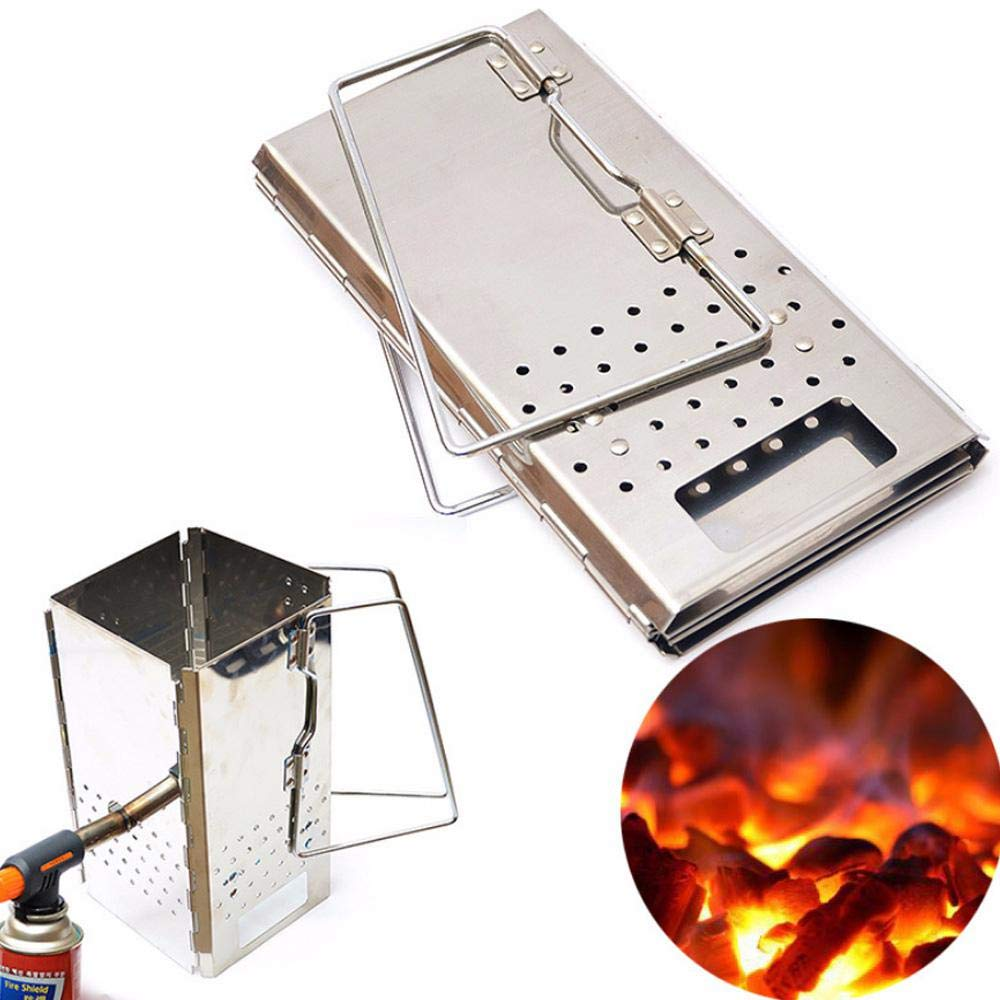 Leegoal Charcoal Starter, Stainless Steel Quick and Easy Charcoal Chimney Starter for Camping Picnic Outdoor Cooking Accessories