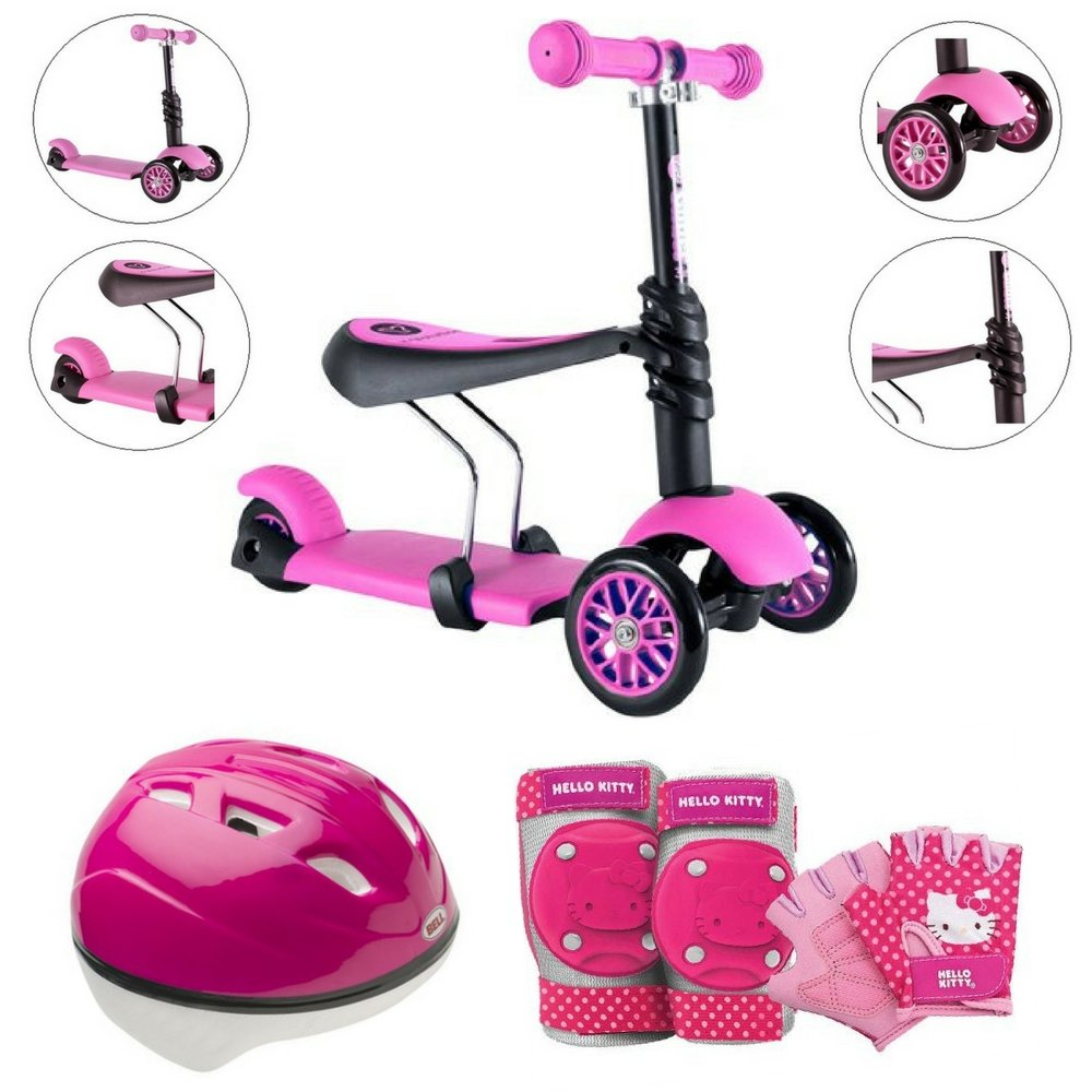 Y Glider 3-in-1 Kids Scooter With Hello Kitty Pedal-And-Go Protective Pad/Gloves & Helmet, Pink, Bell Sports, Kids Scooters & Gears, Outdoor, Balance & Coordination, Kids Adventure, For Ages 3-5 by Bell Sports, Yvolution