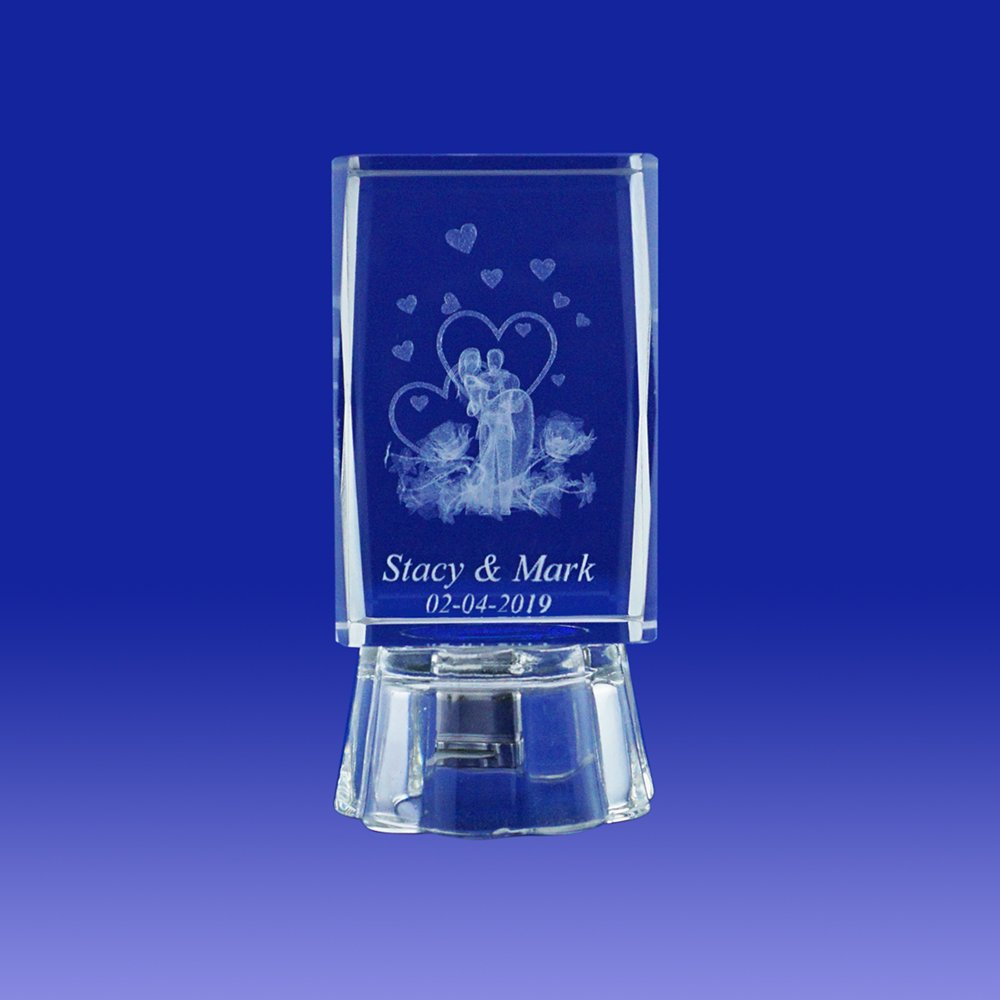 Nuestra Boda (12 PCS) Wedding Favors Personalized Custom Laser Etched Engraving 3D Bride & Groom Crystal Cube Glass (2.5''H)