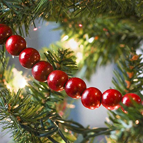 Factory Direct Craft Burgundy Cranberry Color Wooden Bead 9 Foot Christmas Garland - The Look of Strung Cranberries