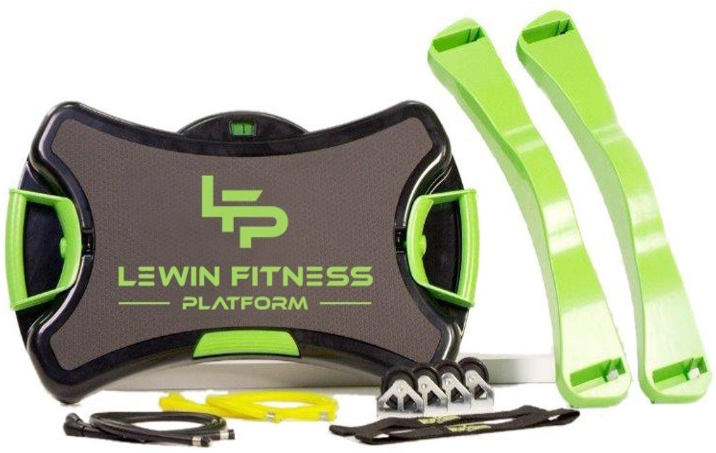 Lewin Fitness Platform - 30 Level Resistance, Set of Interchangeable Stretch Resistance Bands, Allows to Perform more than 150 Exercises, USB with Training Videos by Michelle and Jimmy Lewin