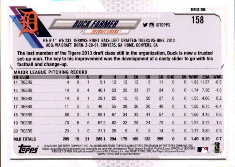 2021 Topps #158 Buck Farmer Detroit Tigers Baseball Card